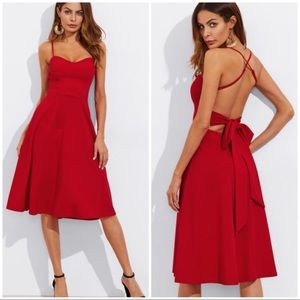 Dresses & Skirts - RED Crisscross Belted Back Fitted & Flared Dress